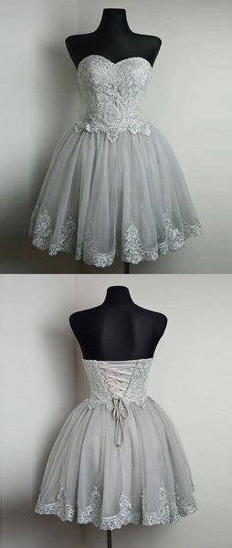 Strapless homecoming dresses,cheap homecoming dresses,short homecoming dresses,grey graduation dress   cg10362