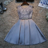 Cute A Line Stain Dress,Short Lace Homecoming Dress   cg10375