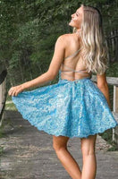 Cute Spaghetti Straps A-line Lace Short Homecoming Dresses   cg10376