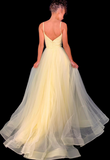 Yellow Prom Dress,Tulle Prom Gown,Spaghetti Straps Evening Dress,Backless Prom Gown   cg10381