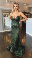 Mermaid Sequin Dark Green Long Prom Dress with Open Back   cg10382