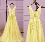 Long V-Neckline Lace Applique And Tulle Bridesmaid Dress, Yellow Prom Dress Party Dress   cg10386