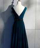 Beautiful Long V Back Evening Gown, Charming Green Party Dress prom dress    cg10388