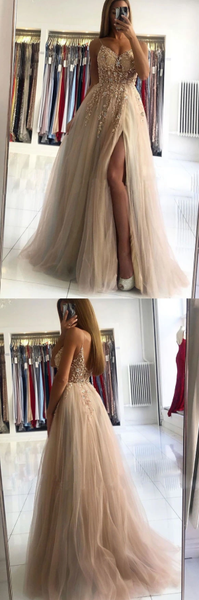 Champagne v neck beads long prom dress champagne evening dress   cg10391