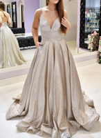 Champagne v neck long prom dress champagne evening dress   cg10392