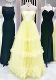 Yellow sweetheart tulle long prom dress yellow formal dress   cg10393