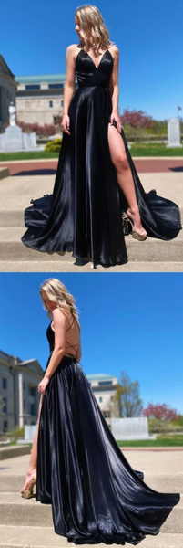 SIMPLE V NECK BLACK EVENING DRESS BLACK FORMAL PROM DRESS   cg10395