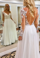 WHITE V NECK CHIFFON LACE LONG PROM DRESS WHITE FORMAL DRESS   cg10396