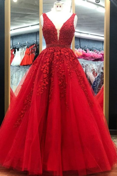 Elegant Red Long Prom Dress with Lace Appliques   cg10398