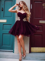 Wonderful Satin Tulle Spaghetti Straps Neckline A-line Homecoming Dresses cg103