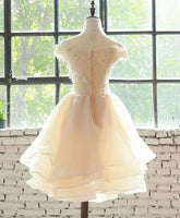 Cute Champagne Layers Short Homecoming Dress   cg10405