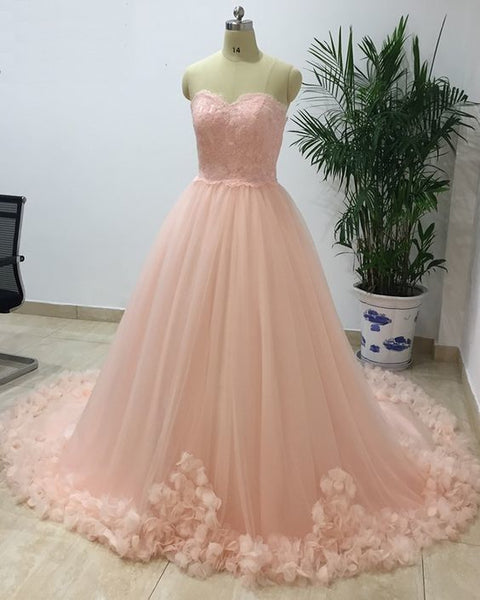 Princess Sweetheart Long Pink Tulle Senior Prom Dress With Applique    cg10409