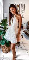 A-Line Halter Keyhole Backless White Homecoming Dress With Lace cg1041