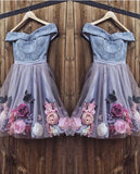 Blue short dress blue tulle homecoming dress   cg10422