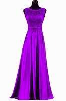 Beautiful Long Soft Satin With Lace Bridesmaid Dress, A-Line Prom Dress   cg10449