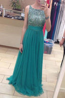 Blue Prom Dress,Simple Prom Dress,Princess Prom Gown,Beaded Prom Dresses   cg10450