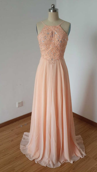 Backless Spaghetti Straps Light Peach Chiffon Long Prom Dress   cg10451