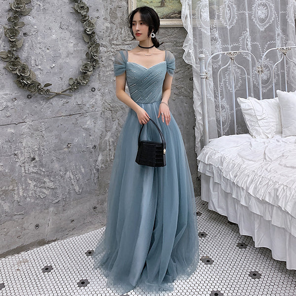 BLUE TULLE LONG PROM DRESS, EVENING DRESS   cg10459