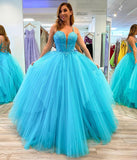 BLUE TULLE LACE LONG PROM GOWN EVENING DRESS   cg10466