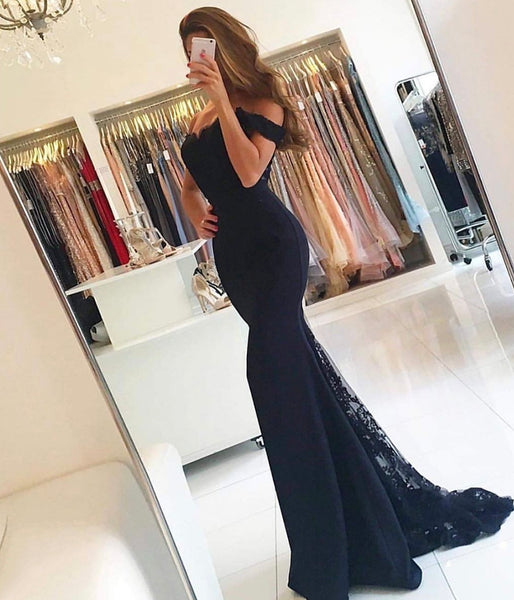 BLACK LACE PROM DRESS MERMAID EVENING DRESS    cg10470
