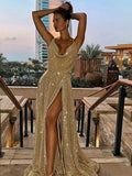 A-Line/Princess V-neck Long Sequins prom Dress   cg10472