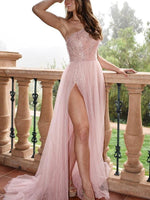 A-Line/Princess One-Shoulder Long Tulle  prom Dress   cg10477