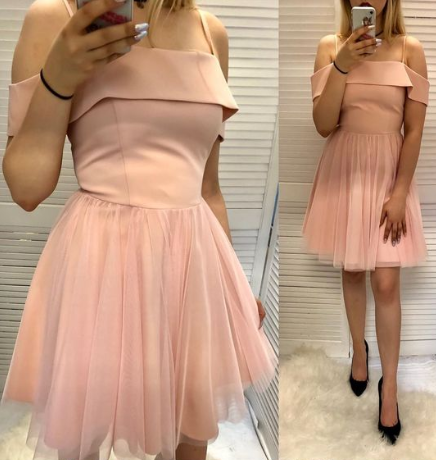 A Line Spaghetti Straps Pink Short Homecoming Dress With Ruffles cg1047