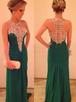 Sheath/Column Scoop Long Chiffon prom Dress   cg10482