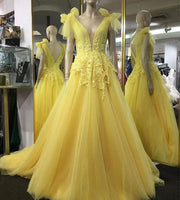 YELLOW V NECK TULLE LACE PROM DRESS EVENING DRESS   cg10489