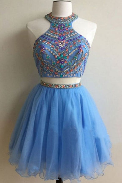 Light blue organza two pieces beading sequins A-line short homecoming dresses for teens,party dresses  cg10497