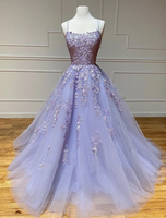 Purple tulle lace long prom dress evening dress   cg10509
