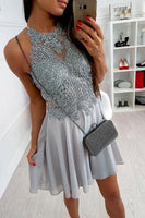 lace appliqued bodice homecoming dress, short chiffon grey formal dresses cg1050