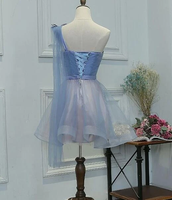 One Shoulder Tulle Sweetheart Party Dress, Short Blue Homecoming Dress   cg10511