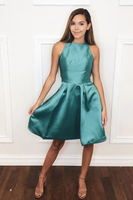 SIMPLE GREEN SATIN SHORT DRESS GREEN HOMECOMING DRESS  cg10516