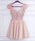 A-Line Deep V-Neck Cap Sleeves Pink Tulle Short Homecoming Dress with Appliques cg1051