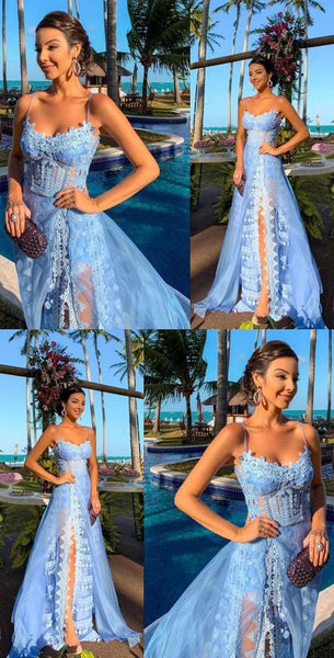Spaghetti Straps Blue Prom Dresses with Appliques   cg10520