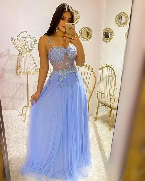 Charming Sexy Spaghetti Straps Chiffon Evening Party Dress,Blue Appliques Long Prom Dress  cg10521