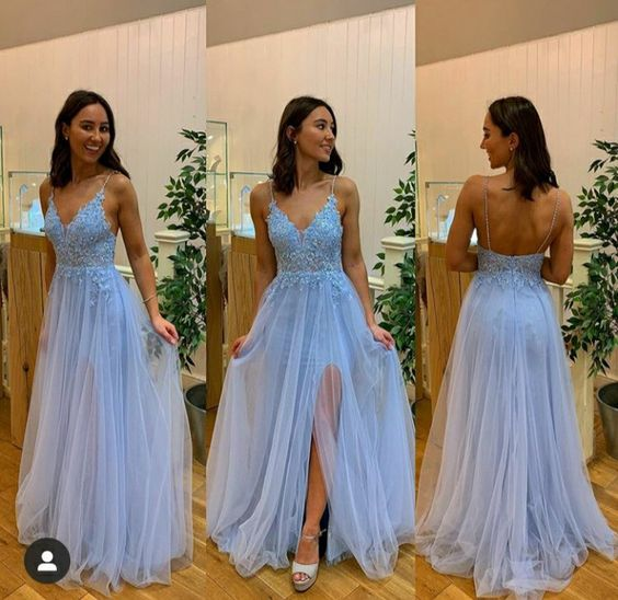Charming Sexy Spaghetti Straps Evening Party Dress,Blue Appliques Long Prom Dress  cg10522