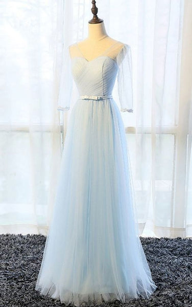 Simple pure blue V neck long senior prom dress with mid sleeves   cg10523
