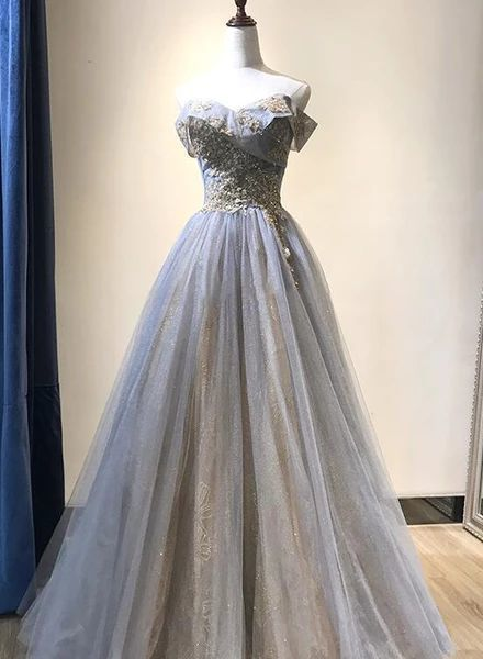 Charming Grey-Blue Tulle Floor Length Party prom Dress   cg10539