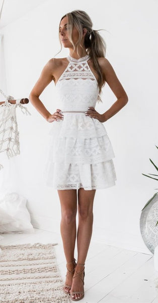 A-Line Jewel Above-Knee White Tiered Lace Homecoming Dress cg1053