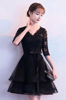 Black V Neck Lace Tulle Short Dress Black Homecoming Dress  cg1054