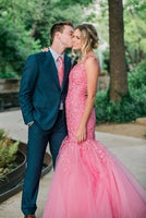 Charming Appliques Tulle Mermaid Evening Dress, Hot Pink Evening Gowns prom dress   cg10554