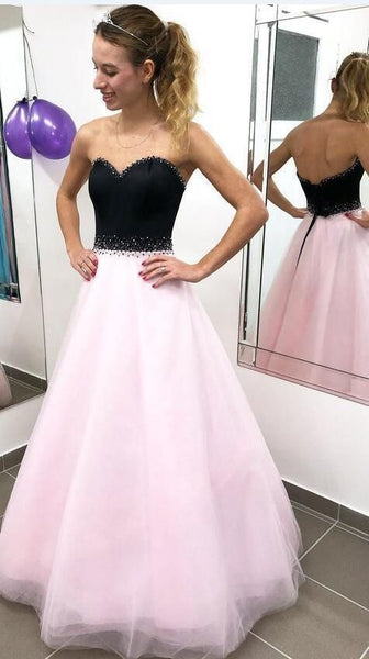 Fashion Pink Tulle Long Prom Dress, Black Top Beaded Prom Dresses, Evening Party Dress   cg10558