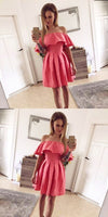 A-Line Off The Shoulder Pink Pleated Homecoming Dress   cg10562