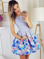 A-Line Round Neck Blue Floral Short Homecoming Dress,party dresses,   cg10563