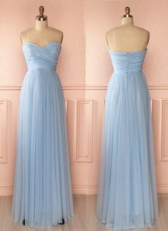 Sweetheart neck baby blue chiffon long A-line prom dress, bridesmaid dresses    cg10567