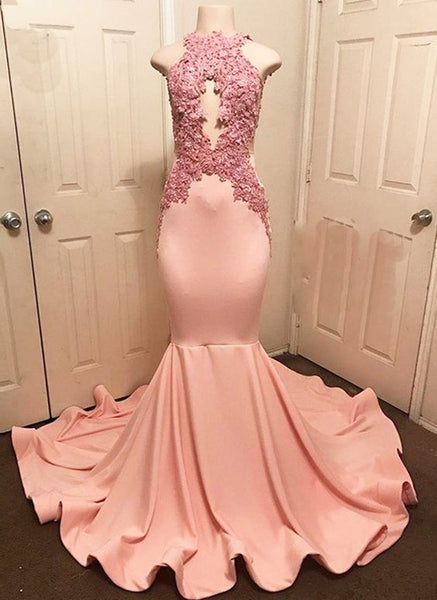Pink high O neck see through strapless long mermaid evening prom dress with applique   cg10568