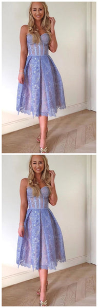 Sleeveless Lavender Lace Short Dress, Girl Party Dress Homecoming Dress   cg10576
