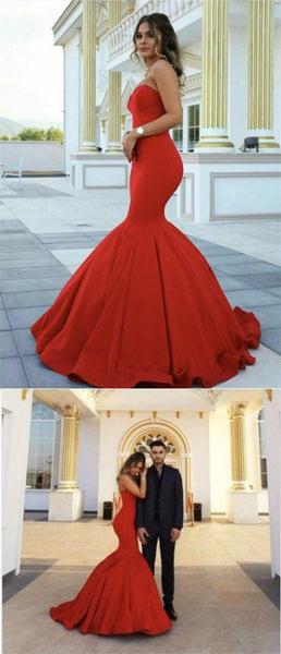 elegant sweetheart red mermaid prom dress, bodycon mermaid party dress with sweep train   cg10579